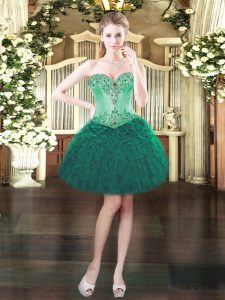 Sleeveless Organza Mini Length Lace Up Prom Gown in Dark Green with Beading and Ruffles
