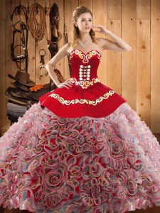 Satin and Fabric With Rolling Flowers Sweetheart Sleeveless Sweep Train Lace Up Embroidery 15th Birthday Dress in Multi-color
