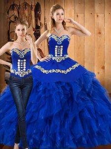 Affordable Blue Sweetheart Lace Up Embroidery and Ruffles Vestidos de Quinceanera Sleeveless