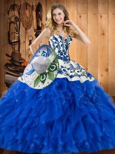 Comfortable Blue Sleeveless Embroidery and Ruffles Floor Length Vestidos de Quinceanera