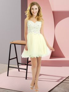 Latest Light Yellow Empire Tulle V-neck Sleeveless Beading and Lace Mini Length Lace Up Bridesmaid Dresses