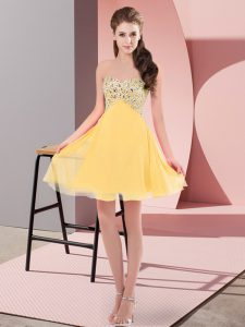 Luxury Mini Length Lace Up Prom Dresses Gold for Prom and Party with Beading