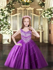Lilac Scoop Lace Up Beading Pageant Dress for Womens Sleeveless