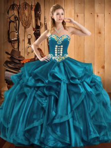Super Teal Quinceanera Gowns Military Ball and Sweet 16 and Quinceanera with Embroidery and Ruffles Sweetheart Sleeveless Lace Up