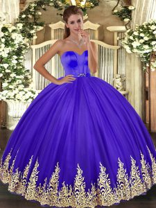 Tulle Sleeveless Floor Length 15th Birthday Dress and Appliques