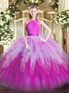 Delicate Multi-color Sleeveless Organza Zipper Quinceanera Dresses for Military Ball and Sweet 16 and Quinceanera