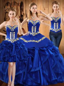 Royal Blue Ball Gowns Sweetheart Sleeveless Organza Floor Length Lace Up Embroidery and Ruffles Sweet 16 Dress