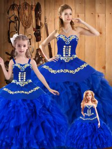 Floor Length Lace Up Quinceanera Gowns Royal Blue for Military Ball and Sweet 16 and Quinceanera with Embroidery and Ruffles