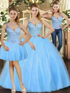 Baby Blue Straps Neckline Beading Sweet 16 Dresses Sleeveless Lace Up
