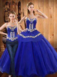 Sweet Blue Sleeveless Tulle Lace Up Quinceanera Gowns for Military Ball and Sweet 16 and Quinceanera
