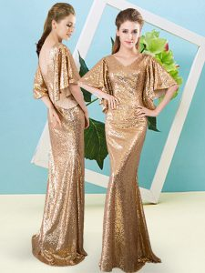 Glamorous Gold V-neck Zipper Sequins Evening Dress Half Sleeves