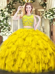 Floor Length Two Pieces Sleeveless Gold Quinceanera Dress Zipper
