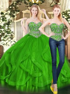 Glamorous Green Tulle Lace Up Quinceanera Dresses Sleeveless Floor Length Beading and Ruffles