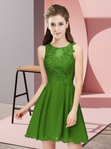 Lovely Mini Length Empire Sleeveless Green Quinceanera Court Dresses Zipper