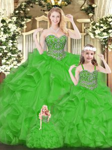 Delicate Green Organza Lace Up Sweetheart Sleeveless Floor Length 15 Quinceanera Dress Beading and Ruffles