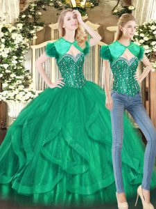 Adorable Green Sweetheart Neckline Beading and Ruffles 15 Quinceanera Dress Sleeveless Lace Up