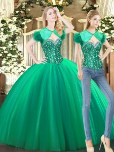 Green Sweetheart Lace Up Beading Sweet 16 Dresses Sleeveless
