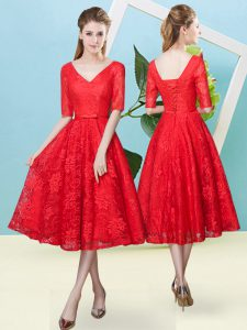 Red Empire Bowknot Quinceanera Dama Dress Lace Up Lace Half Sleeves Tea Length