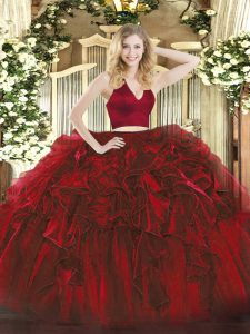 Sleeveless Floor Length Ruffles Zipper Quince Ball Gowns with Wine Red