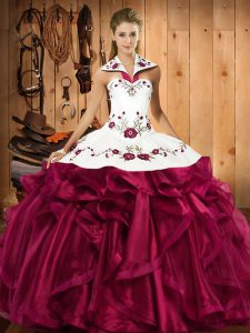 Fuchsia Lace Up Halter Top Embroidery and Ruffles Vestidos de Quinceanera Satin and Organza Sleeveless