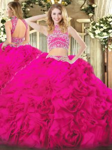 Hot Pink High-neck Neckline Beading and Ruffles 15 Quinceanera Dress Sleeveless Backless