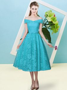 Colorful Teal Cap Sleeves Bowknot Tea Length Vestidos de Damas