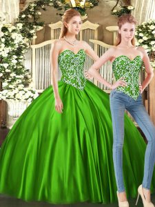 Green Sweetheart Neckline Beading Quinceanera Gowns Sleeveless Lace Up