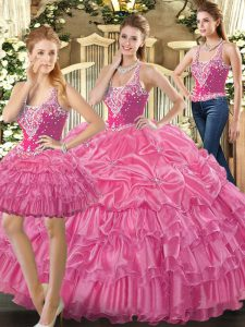 Super Tulle Straps Sleeveless Lace Up Beading and Ruffles and Pick Ups Quinceanera Dresses in Hot Pink