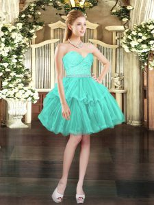 Custom Fit Mini Length Lace Up Prom Evening Gown Aqua Blue for Prom and Party and Wedding Party with Beading and Lace