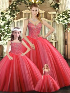 Coral Red Lace Up Straps Beading Quinceanera Dresses Tulle Sleeveless