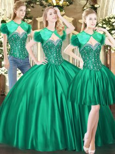 Customized Green Sweetheart Neckline Beading Sweet 16 Dress Sleeveless Lace Up