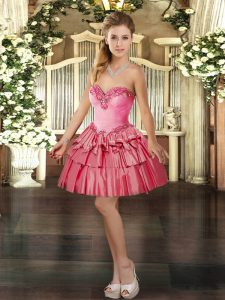 Glittering Coral Red Sleeveless Organza Lace Up Prom Dresses for Prom and Party