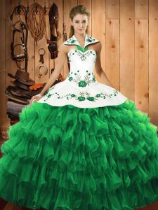 Green Long Sleeves Embroidery and Ruffled Layers Floor Length Quinceanera Dress