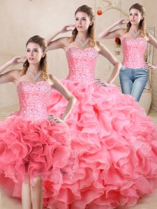 Floor Length Watermelon Red Quinceanera Dress Sweetheart Sleeveless Lace Up
