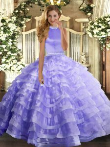 High Quality Floor Length Ball Gowns Sleeveless Lavender Ball Gown Prom Dress Backless