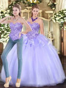 Lavender Ball Gowns Appliques Quinceanera Gown Zipper Organza Sleeveless Floor Length