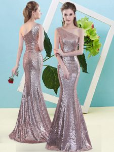 Extravagant Mermaid Homecoming Dress Pink One Shoulder Sequined Sleeveless Floor Length Zipper