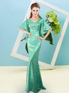 Turquoise Half Sleeves Floor Length Sequins Zipper Prom Evening Gown