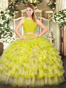 Yellow Green Two Pieces Ruffled Layers Quinceanera Dress Zipper Tulle Sleeveless Floor Length
