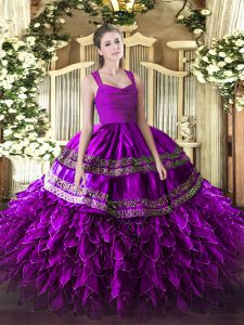 Fuchsia Ball Gowns Straps Sleeveless Organza Floor Length Zipper Beading and Lace and Ruffles Ball Gown Prom Dress