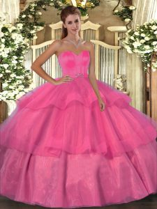 Ball Gowns Sweet 16 Dresses Hot Pink Sweetheart Organza Sleeveless Floor Length Lace Up