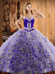 Multi-color Ball Gowns Satin and Fabric With Rolling Flowers Sweetheart Sleeveless Embroidery With Train Lace Up Quinceanera Gown Sweep Train