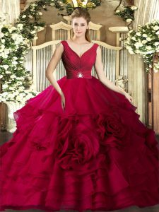 Red Ball Gown Prom Dress Military Ball and Sweet 16 and Quinceanera with Beading and Ruffles V-neck Sleeveless Backless