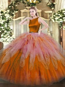 Pretty Multi-color Ball Gowns Scoop Sleeveless Organza Floor Length Clasp Handle Ruffles Quinceanera Gowns