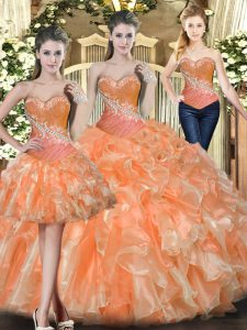 Popular Floor Length Lace Up Sweet 16 Quinceanera Dress Orange Red for Military Ball and Sweet 16 and Quinceanera with Beading and Ruffles