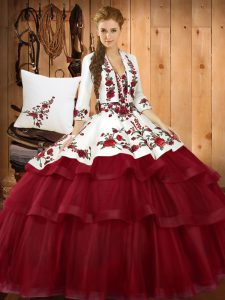 Lace Up 15 Quinceanera Dress Wine Red for Military Ball and Sweet 16 and Quinceanera with Embroidery Sweep Train
