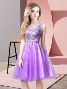 Glamorous Scoop Sleeveless Tulle Homecoming Dress Beading Zipper