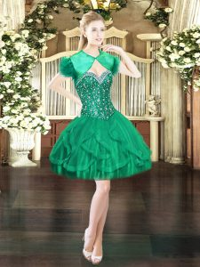 Beauteous Beading and Ruffles Homecoming Dress Dark Green Lace Up Sleeveless Mini Length