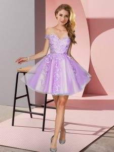 Comfortable Tulle Sleeveless Mini Length Wedding Party Dress and Appliques