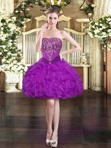 Custom Designed Purple Ball Gowns Beading and Ruffles Lace Up Organza Sleeveless Mini Length